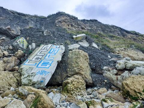 Bunker dans des rochers à Trouville sur mer