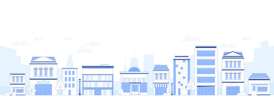 Suburb city street with apartments houses and shop buildings horizontal background. City view with house facades. Abstract architecture modern cityscape panorama. Vector illustration in flat style