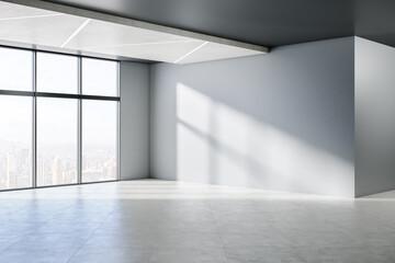 Fototapeta Minimalistic empty concrete room interior with windows, city view, sunlight and shadows. 3D Rendering. obraz