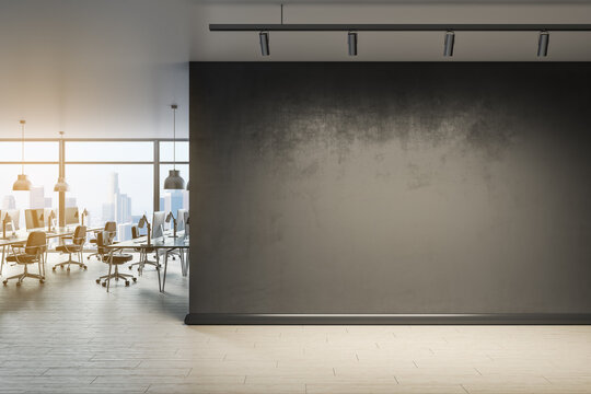 Blank wall with mock up place in contemporary office interior with window and city view. 3D Rendering.