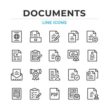 Documents line icons set. Modern outline elements, graphic design concepts, simple symbols collection. Vector line icons