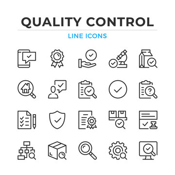 Quality control line icons set. Modern outline elements, graphic design concepts, simple symbols collection. Vector line icons