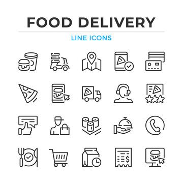 Food delivery line icons set. Modern outline elements, graphic design concepts, simple symbols collection. Vector line icons