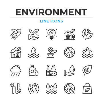Environment line icons set. Modern outline elements, graphic design concepts, simple symbols collection. Vector line icons