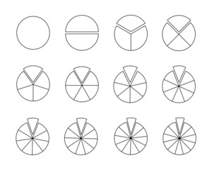 Fototapeta Circles segmented into sections from 1 to 12. Pie or pizza shapes cut in equal slices in outline style. Round statistics chart examples isolated on white background. Vector linear illustration. obraz