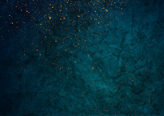 Fototapeta Dark blue grunge texture background with small golden particles. Abstract retro vector design obraz