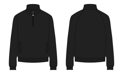Fototapeta Long sleeve with Short zip fleece jacket overall technical fashion Flat sketch Vector illustration template Front, back views. Apparel Sweater Jacket Light Black color mock up CAD isolated on white. obraz