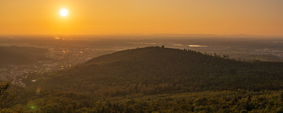 Sunset over the landscape of the Northern Black Forest near Baden-Baden, Baden-Wuerttemberg, Germany