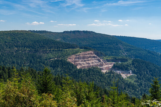View over the landscape of the northern Black Forest near Seebach and Mummelsee, Baden-Wuerttemberg, Germany