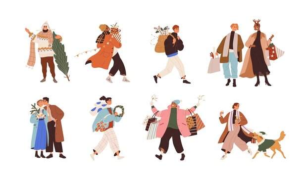 Merry people with Christmas gifts in boxes and shopping bags for winter holidays. Men and women carry New Year presents and Xmas trees in December. Flat graphic vector illustrations isolated on white