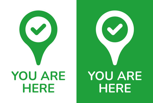 You are here text on map pin icon. Pin position marker design.
