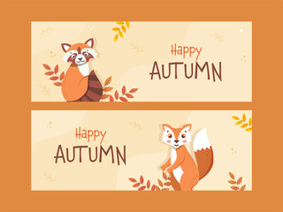 Happy Autumn Banner Or Header Design Set With Cartoon Raccoon, Fox And Leaves On Pastel Yellow Background.