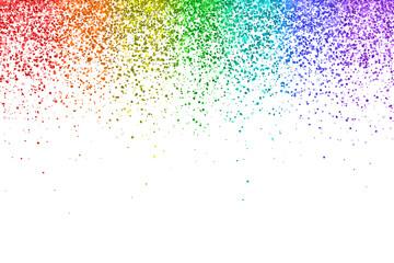 Fototapeta Rainbow falling glitter particles on white background. Vector obraz