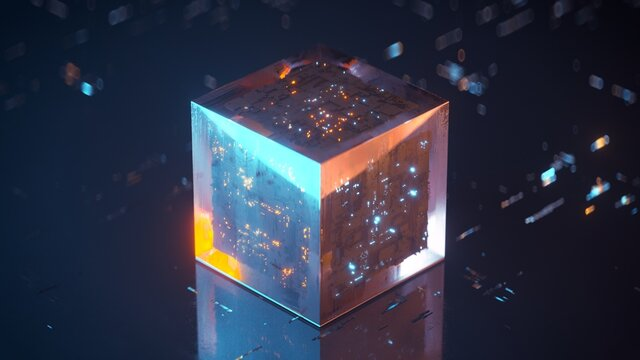 Abstract futuristic technology cube. Сircuit engineering concept. 3D render