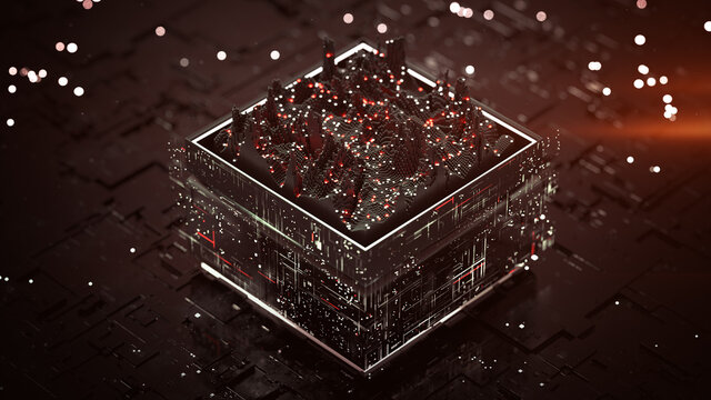 Red central processing unit is analyszing data 3D rendering illustration