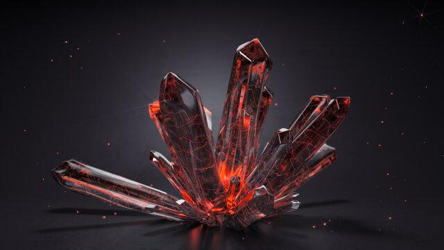 Druse of red crystals 3D render illustration