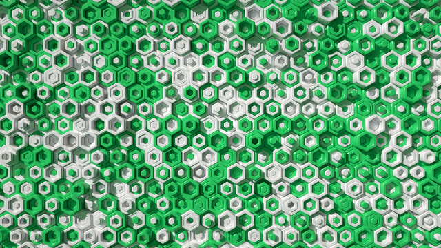 Abstract pattern of green hexagons 3D render illustration