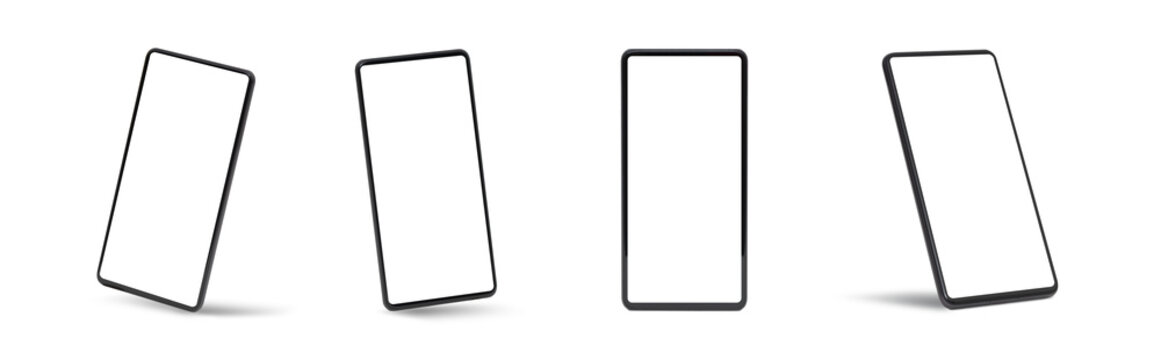 Mobile device mockup set. Smart phones isolated