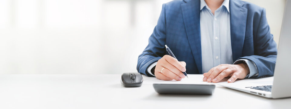 Businessman, accountant working in office