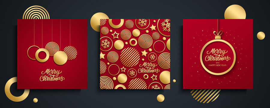 Christmas luxury greeting cards set. Merry Christmas holiday invitations templates collection with hand drawn lettering and gold Christmas balls on red backgrounds. Vector illustration.