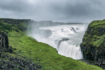 Landscape of the famous Gullfoss waterfall, Iceland