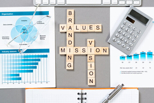 Brand value concept with words from cubes