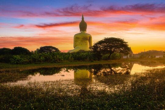 Big buddha in Wat Muang at Ang Thong Province popular Buddhist shrine in Thailand