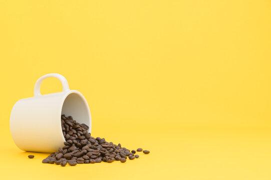 terminal coffee beans yellow background scene