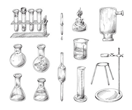 Chemistry science laboratory experiment set in retro sketch style