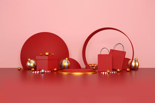 merry christmas and happy new year concept. red shopping bag on red background. sale banner design. 3d illustration