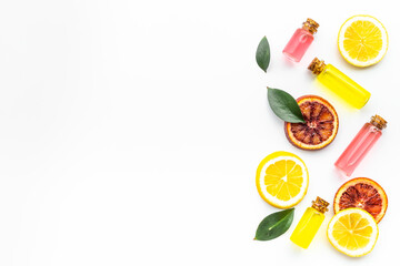 Citrus cosmetic with vitamin c and fruits essential oil. Top view