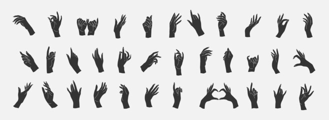 Fototapeta Set of Vector female beauty hands silhouette. Editable outline stroke size. Line flat contour, thin and linear design. Simple icons. Concept illustration. obraz