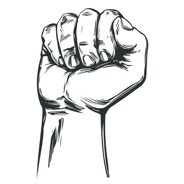 Raised hand up clenched into a fist icon cartoon hand drawn vector illustration sketch