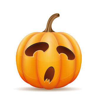 pumpkin with horrible faces for halloween celebration vector illustration