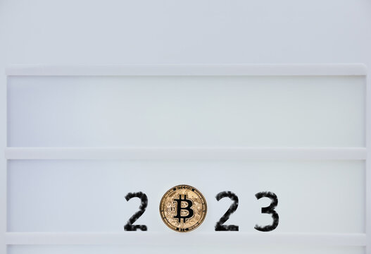 Bitcoin 2023. Bitcoins are next to the numbers 2. Prediction of Price bitcoin in year 2023. Future Bitcoin Value for 2020, 2022, 2030.