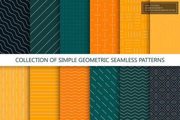 Obraz Collection of seamless geometric minimalistic patterns. Simple dotted and striped textures - endless backgrounds. Color textile repeatable prints. You can find seamless design in swatches panel - fototapety do salonu