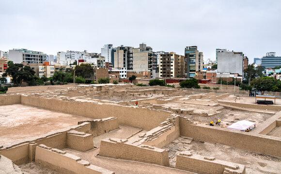 Adobe pyramid of Huaca Pucllana in Lima, Peru