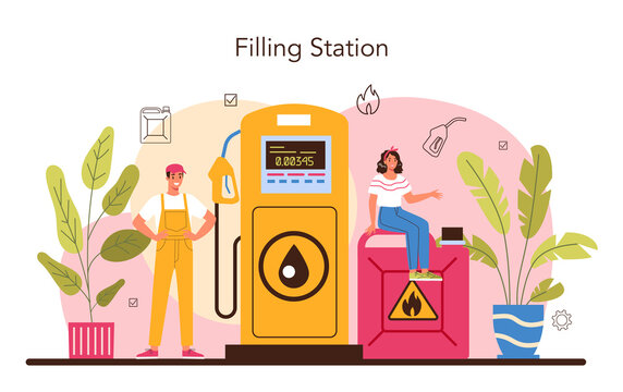 Refueler concept. Gas station worker in uniform working
