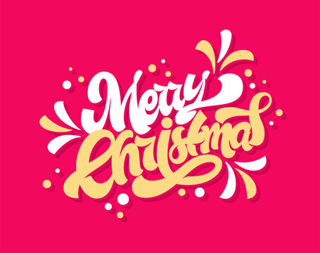 Merry Christmas greeting card. Vector hand lettering with splashes.