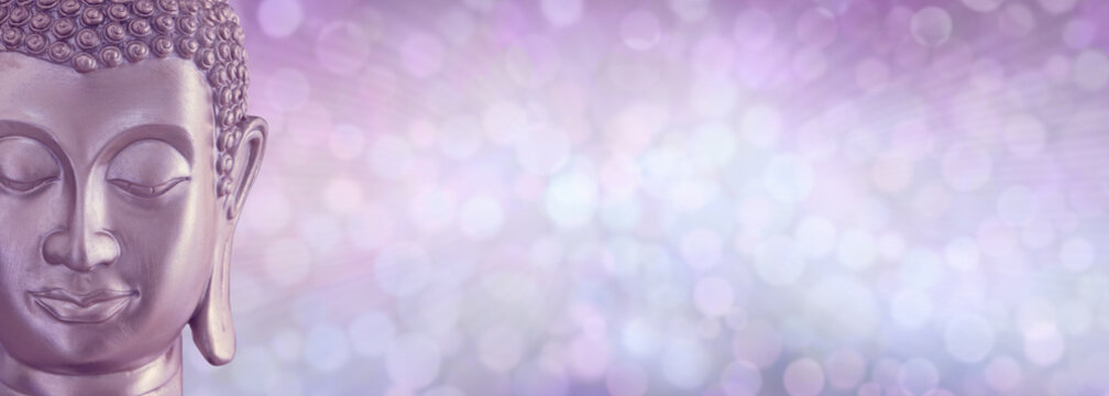 Lilac Bokeh Contemplating Buddha Message Background Banner - cropped Buddha head on left against wide copy space of lilac soft focus bokeh