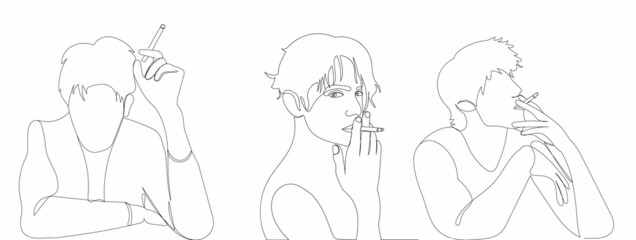 one continuous line drawing, sketch, men smoking