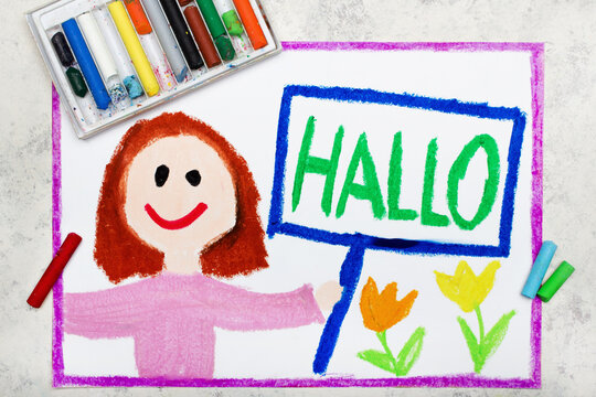 Colorful drawing: happy girl holding a sign with word HALLO, in German language means hello