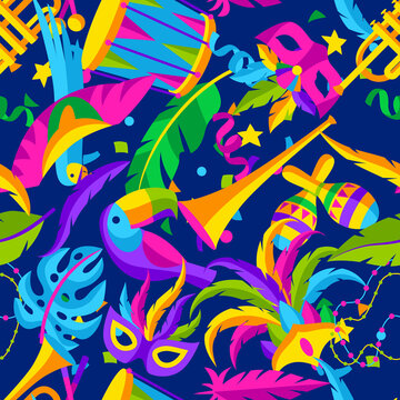 Carnival party seamless pattern with celebration icons, objects and decor. Mardi Gras background for traditional holiday.