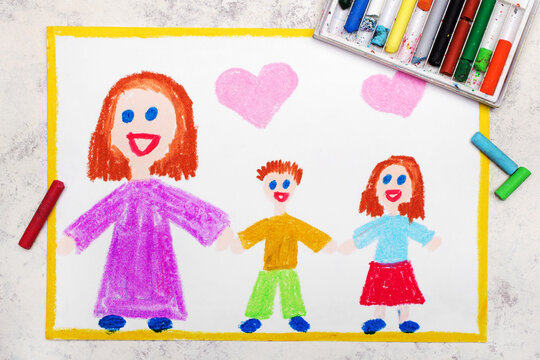 Colorful drawing: Mothers day card. Smiling family with mother and her two kids: daughter and son. Single parenting.