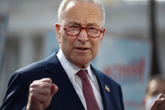 Majority Leader Schumer holds a news conference on hurricane response, on Capitol Hill
