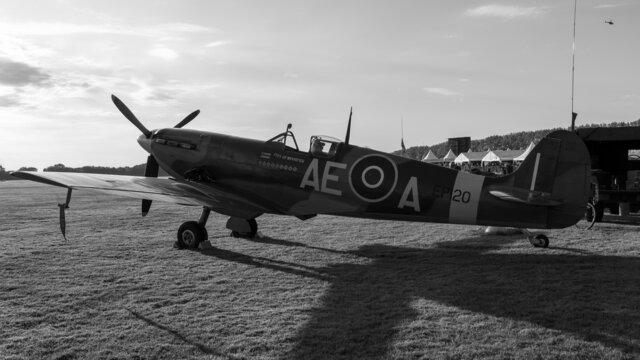 Supermarine LF Mk.Vb Spitfire EP120 in monochrome. Sunset.