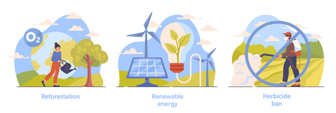 Set of scenes necessary for climate change deceleration on white background. Reforestation, renewable energy and herbicide ban. Concept of climate change mitigation. Flat cartoon vector illustration