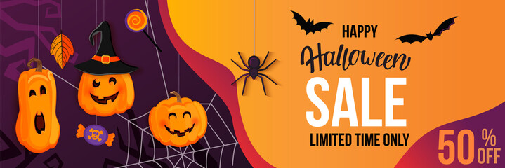 Fototapeta Halloween Sale horizontal banner with with monster pumpkins inviting to shopping with big discounts. Template for web,poster,flyers, ad,promotions,blogs,social media,marketing.Vector illustration. obraz