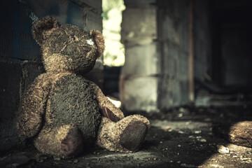 Fototapeta Domestic Violence Theme with Dirty Teddy Bear obraz