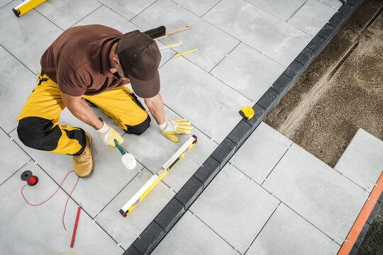 Installing Paving Bricks Patio Floor